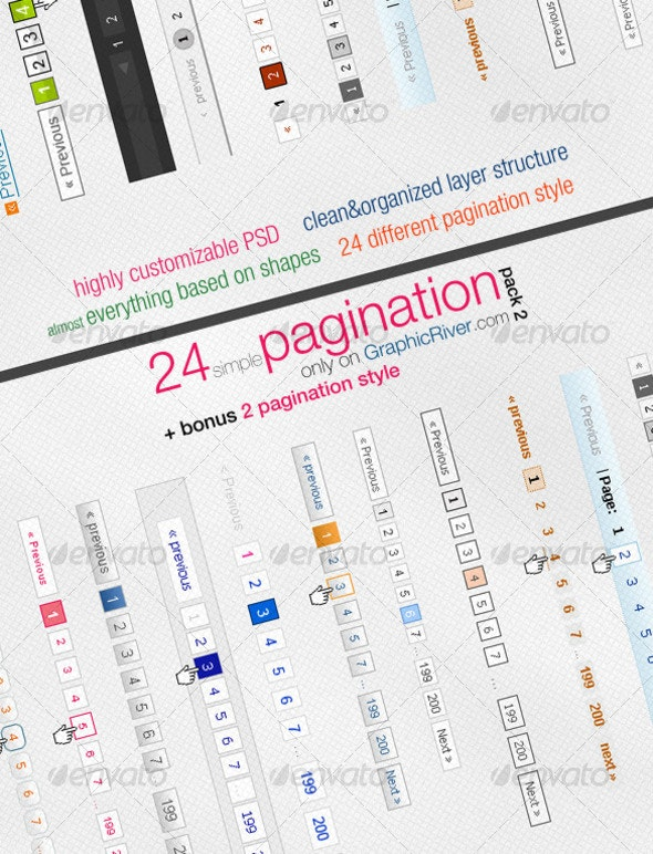 24 simple pagination style - Pack 2 - Web Elements
