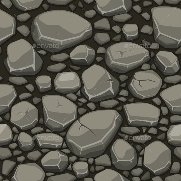 Cartoon Stone Texture In Gray Colors Seamless