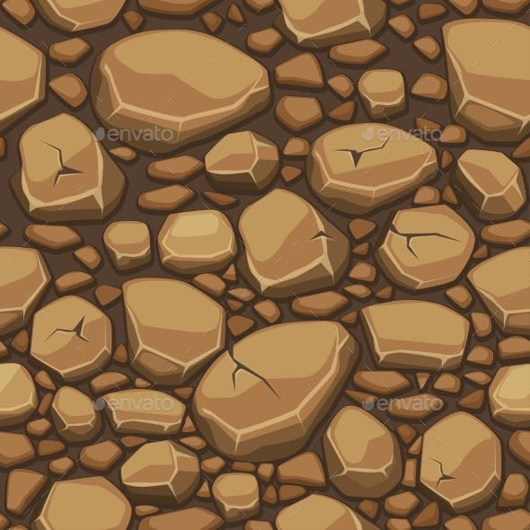 Cartoon Stone Texture In Brown Colors Seamless