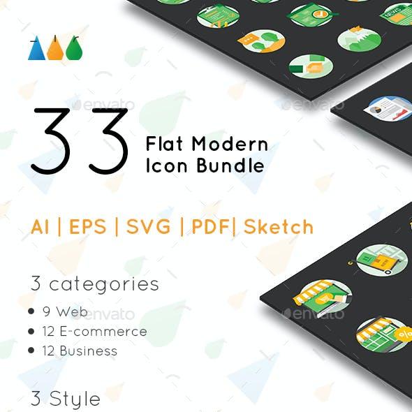 33 Flat Modern Icon Bundle
