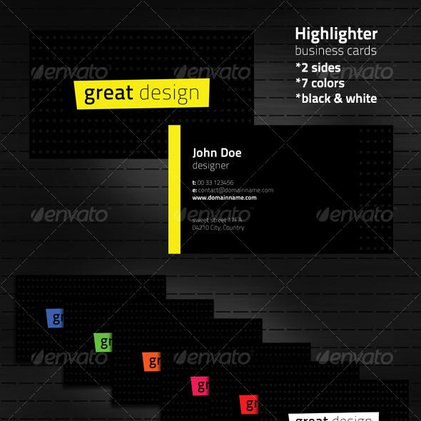 Highlighter business cards in 7 color variations