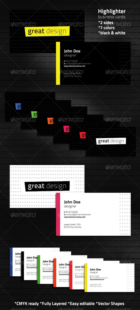 Highlighter business cards in 7 color variations - Corporate Business Cards