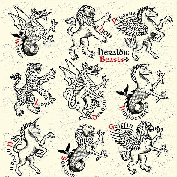 Heraldic Beasts. Vector Illustration.