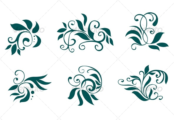 Floral and flower decorations - Flourishes / Swirls Decorative