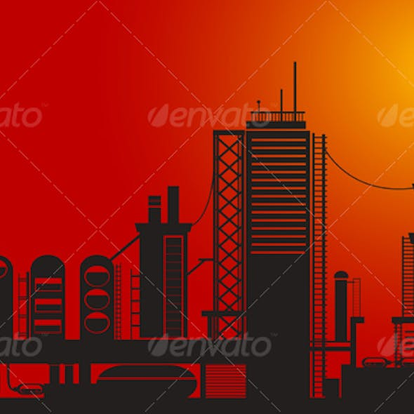 Silhouette of chemical factory
