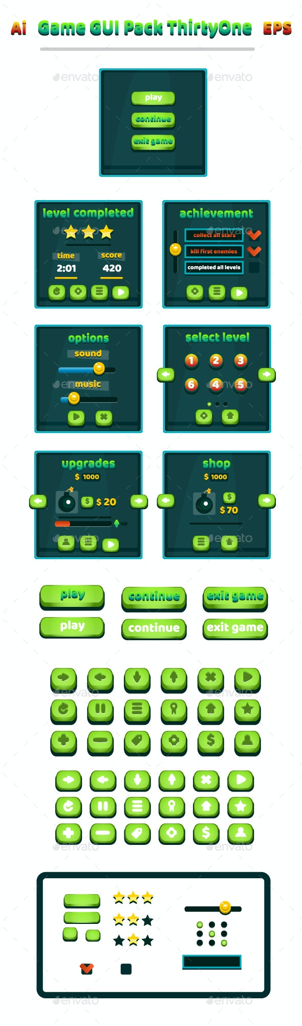 Game GUI Pack ThirtyOne - User Interfaces Game Assets