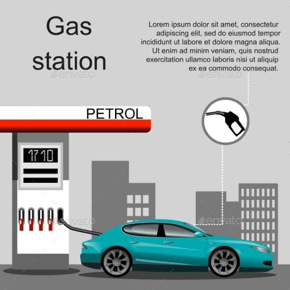 Petrol Gas Station Concept In Flat Design Style