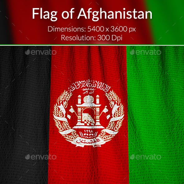 Ruffled Flag of Afghanistan