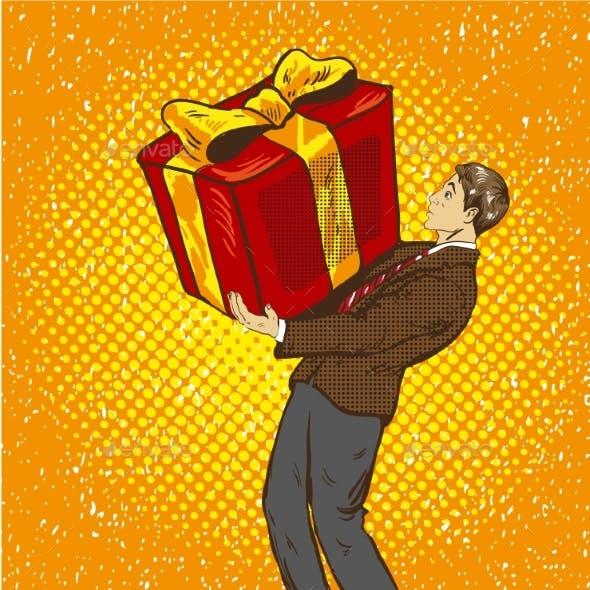 Man Holds Big Gift Box