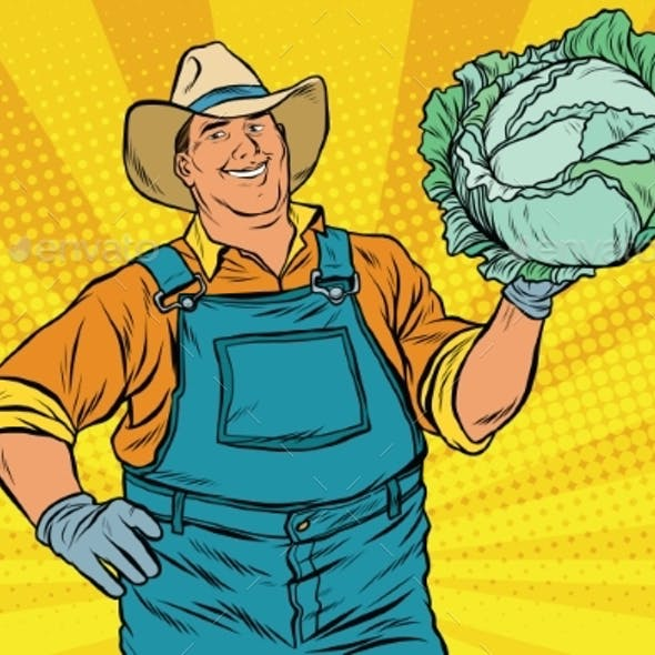 Rural Retro Farmer and a Head of Green Cabbage