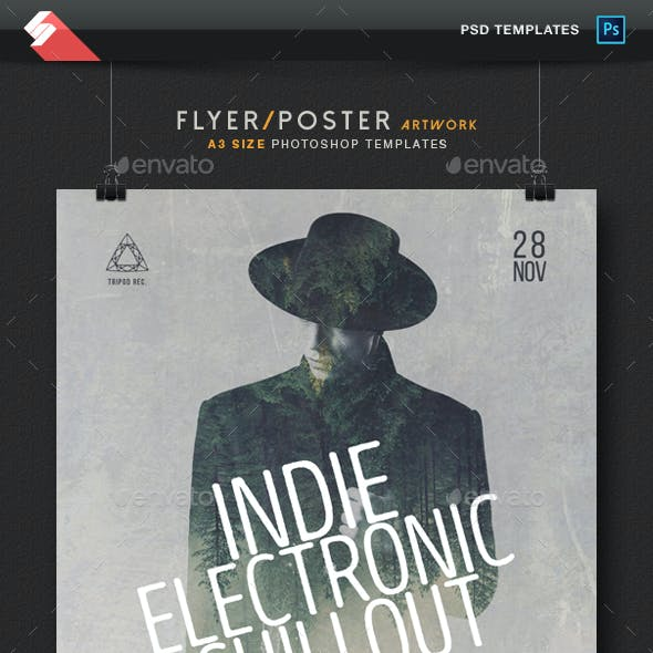 Indie Electronic Chillout - Flyer / Poster Artwork Template A3
