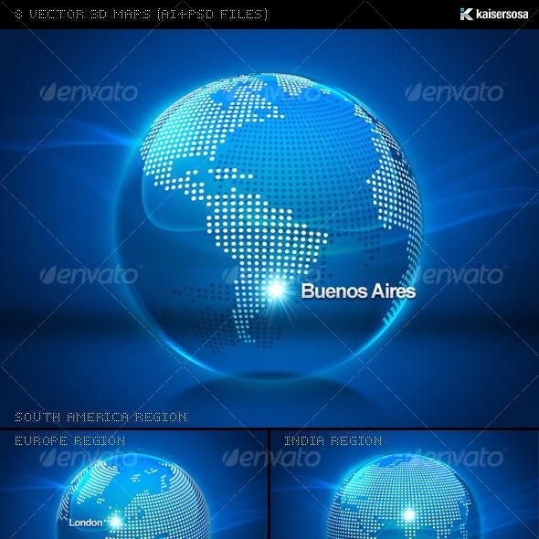 8 Vector 3D Maps (AI+PSD Files)