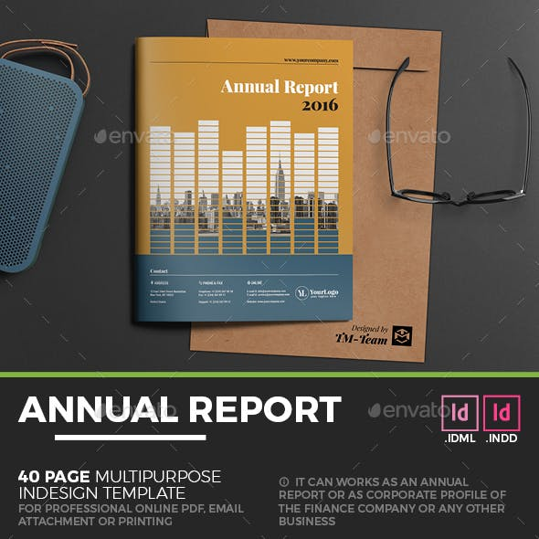 Annual Report Brochure - 40 Page Indesign Template