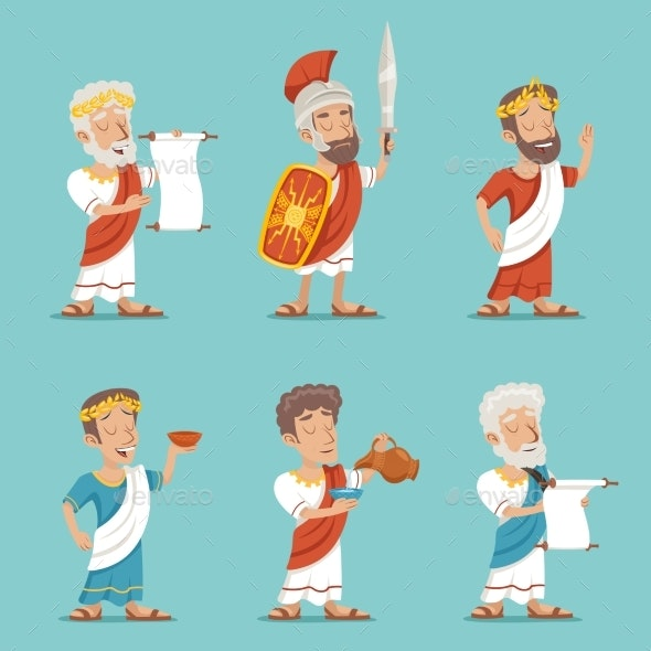 Greek Roman Retro Vintage Character Icon Set - People Characters