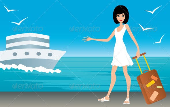 Woman with a Suitcase on Landing Stage