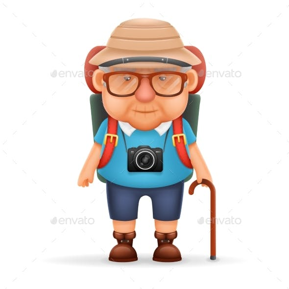 Old Backpacker Man Grandfather Photo Camera 3d