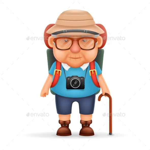 Old Backpacker Man Grandfather Photo Camera 3d - People Characters