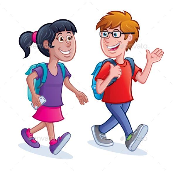 School Kids Walking with Backpacks