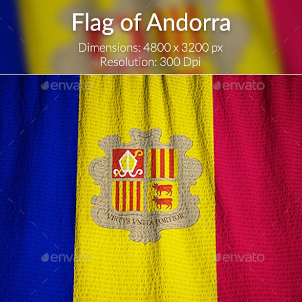 Ruffled Flag of Andorra