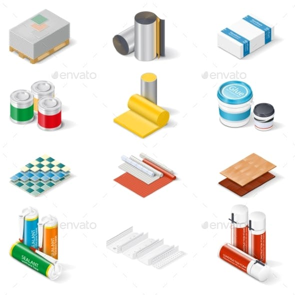 Decoration And Insulation Materials Isometric Icon