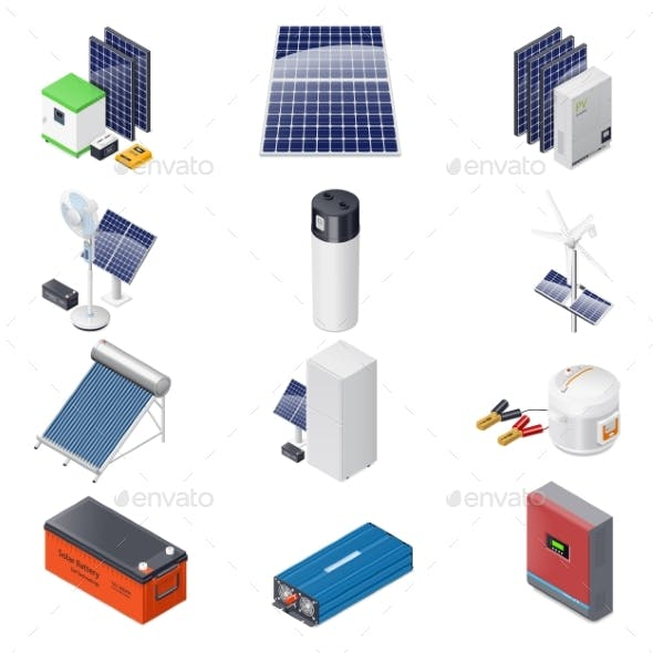Home Solar Energy Equipment Isometric Icon Set