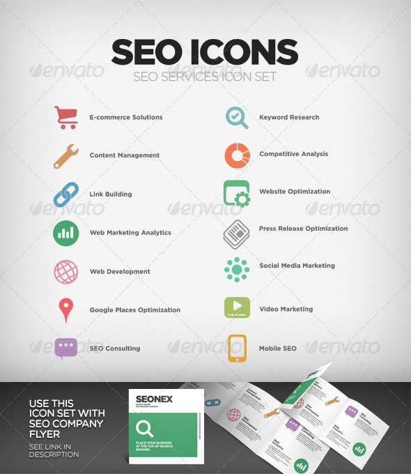 SEO Company Services Icon Set - Business Icons
