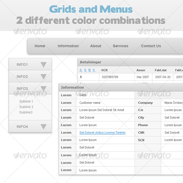 Grids and Menus - 2 color combos