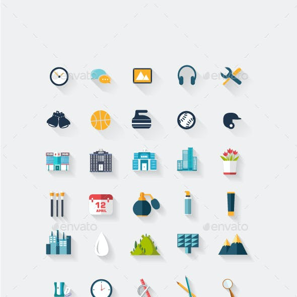 3d icons, Long shadow icon designs