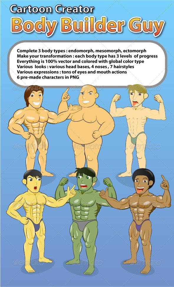 Cartoon Creator Body Builder Guy Creation Kit - People Characters