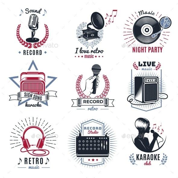 Karaoke Vintage Logos Set