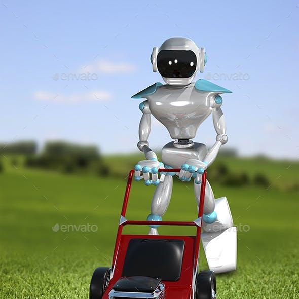 3D Illustration Robot Lawnmower