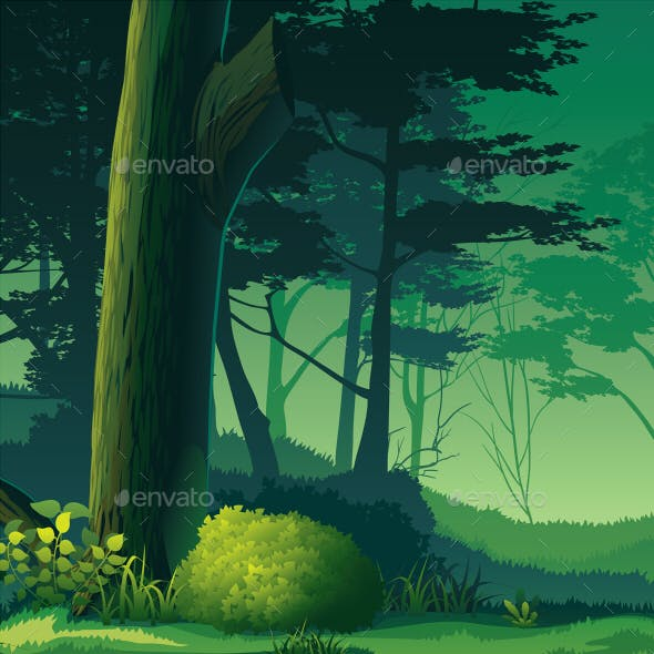 Horizontal Seamless Background with Forest