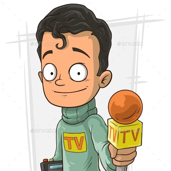 Cartoon TV Journalist With Orange Microphone