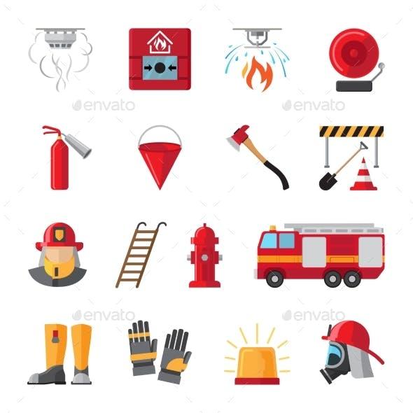 Firefighting Equipment Flat Icons