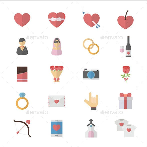 Flat Color Icons Design Set of Love Valentines and Wedding Icons