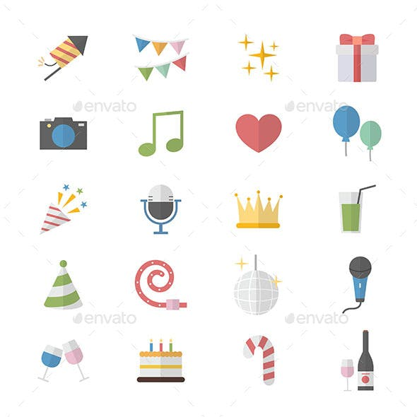 Flat Color Icons Design Set of Party Celebration Icons