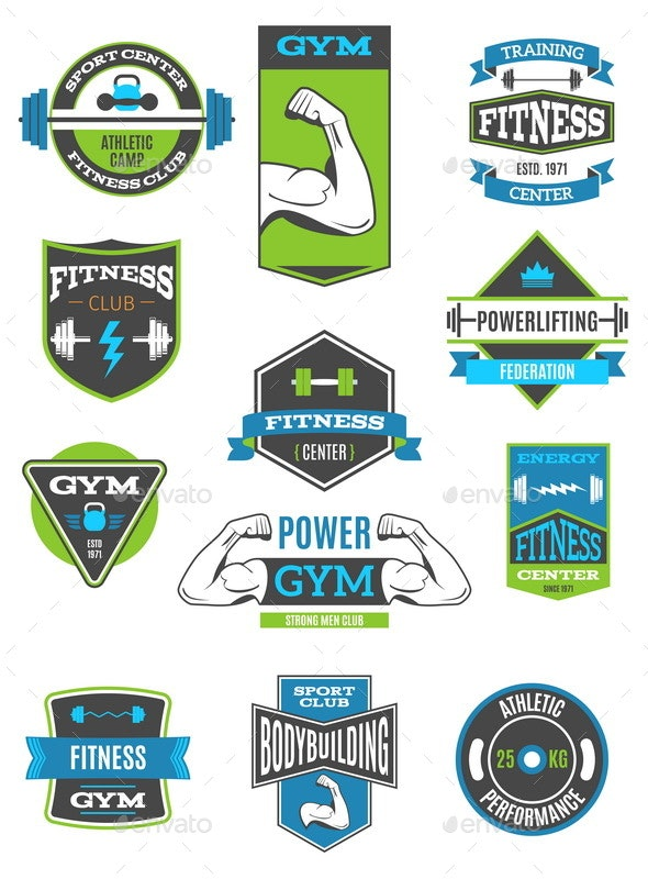 Fitness And Sport Badges - Badges & Stickers Web Elements