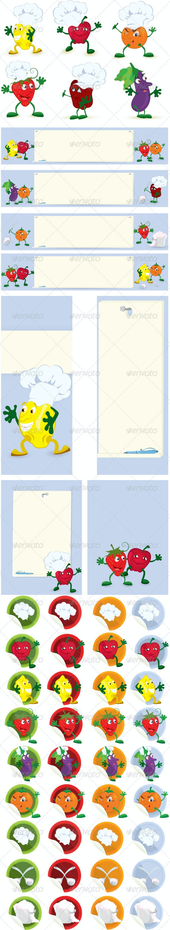 Fruits and Vegetables Cartoon Character Set - Miscellaneous Characters