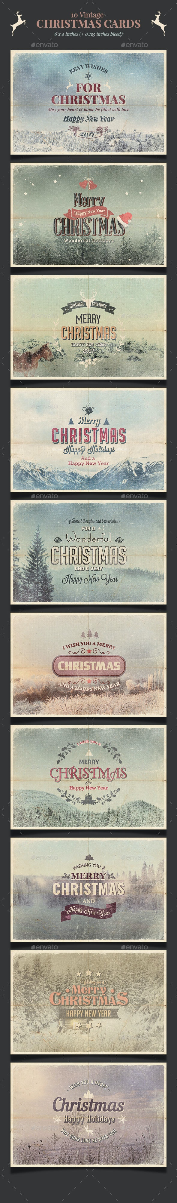 10 Vintage Christmas Cards / Backgrounds PSD - Cards & Invites Print Templates
