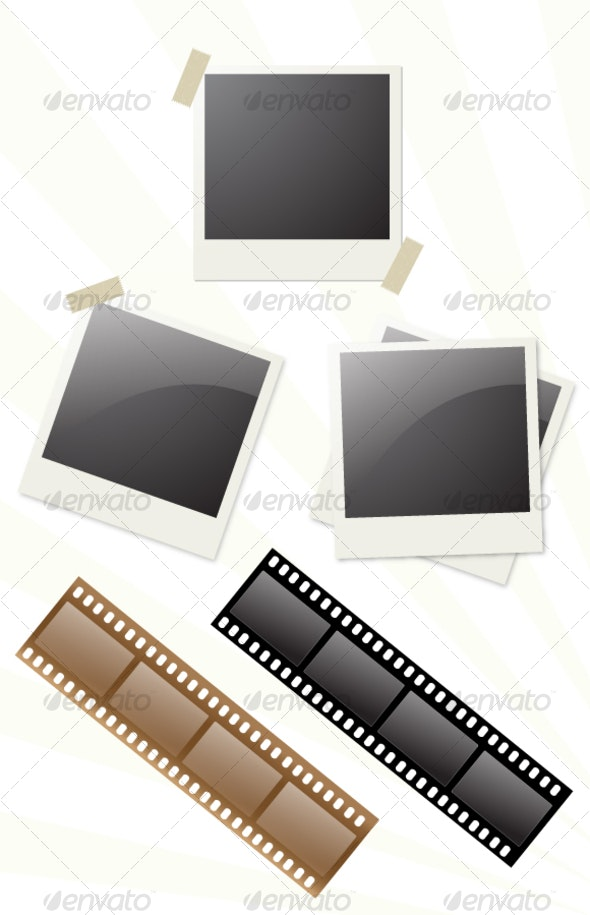 Realistic Snapshot Vector and Film Strip - Media Technology