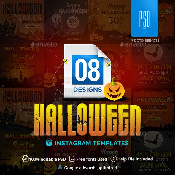 Halloween Instagram Templates - 8 Designs - Images Included