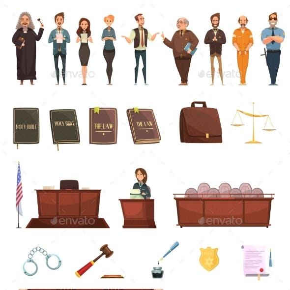 Law Justice Retro Cartoon Icons Set