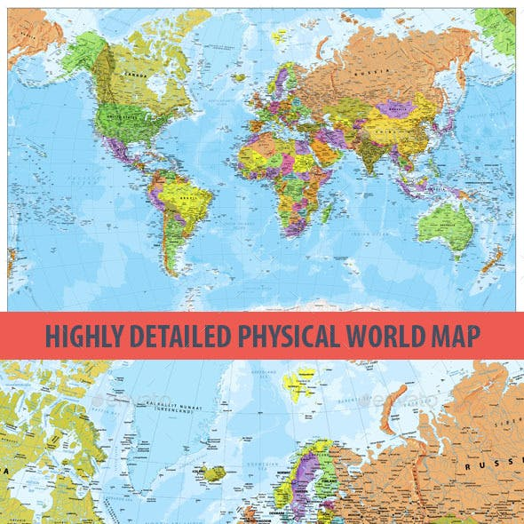 Highly Detailed Physical World Map