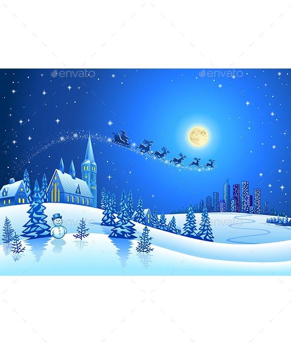 Christmas Winter Landscape with Santa Sleigh - Christmas Seasons/Holidays