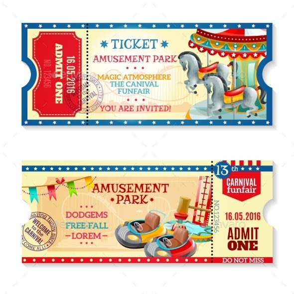 Invitation Tickets to Carnival in Amusement Park - Miscellaneous Seasons/Holidays