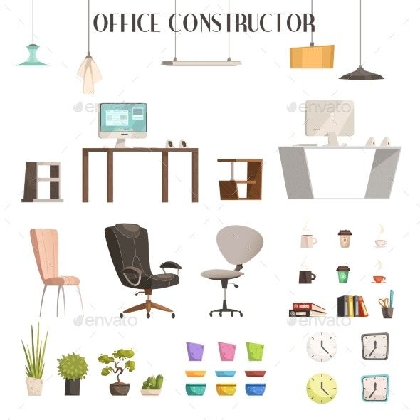 Modern Office Accessories Cartoon Set - Man-made Objects Objects