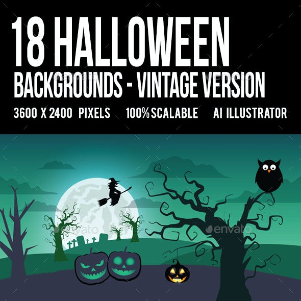 18 Halloween Backgrounds/Cards Landscape