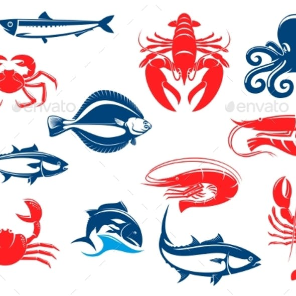 Seafood Icon Set with Fish and Crustacean