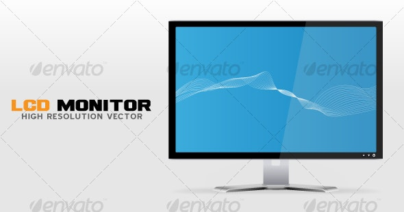 High resolution LCD Monitor / Display vector - Computers Technology