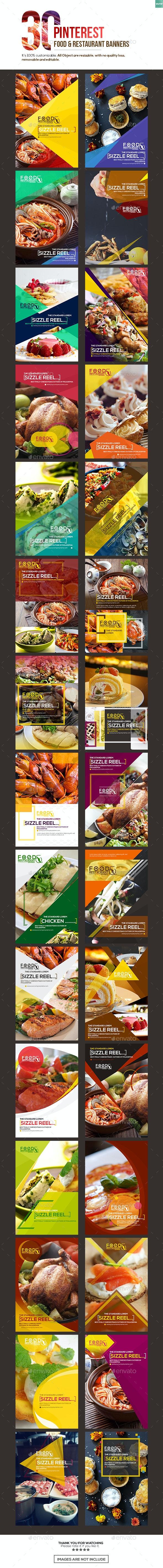 30 Pinterest Food & Restaurant Banners - Banners & Ads Web Elements